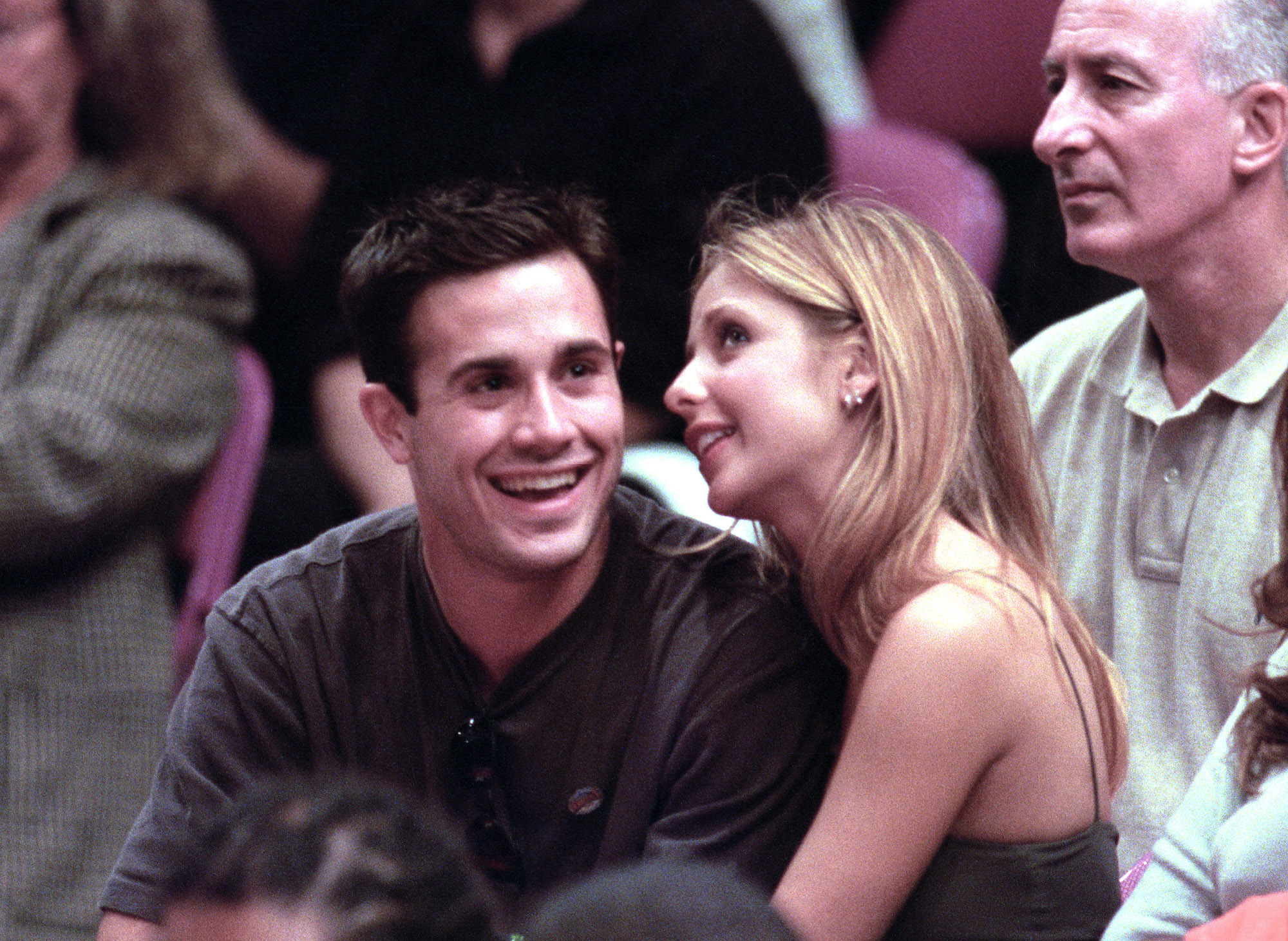 Sarah Michelle Gellar and Freddie Prinze Jr. during New York Knicks Vs. The Miami Heat in the NBA playoffs May 14th, 2000.