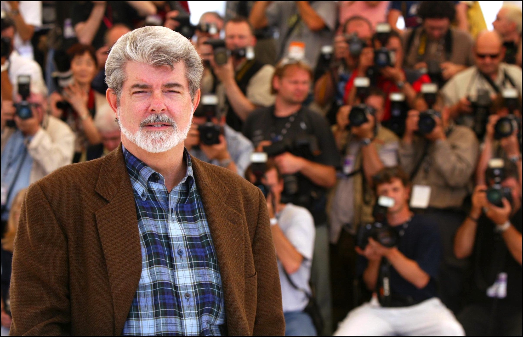 George Lucas at the 55th Cannes for 'Star Wars: Episode II: Attack of the Clones' in Cannes, France, May 16, 2002.