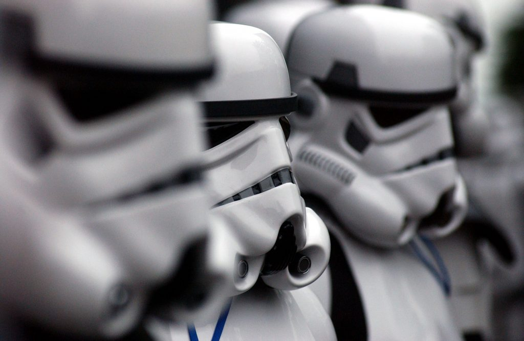 A group of Star Wars Stormtroopers