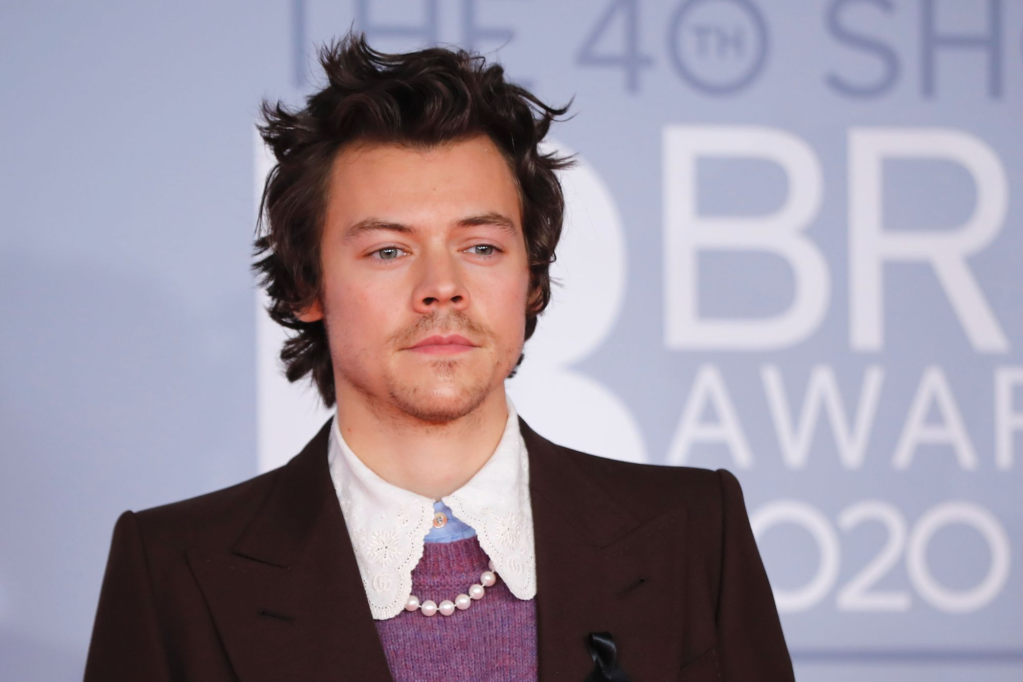 Harry Styles on the red carpet on arrival for the BRIT Awards 2020 in London on February 18, 2020.
