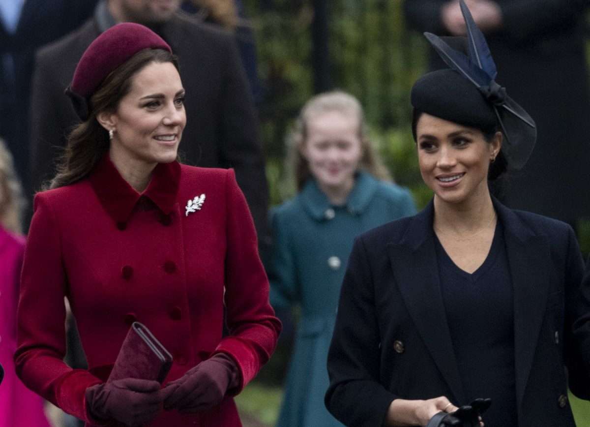 Kate Middleton and Meghan Markle attend Christmas Day Church service at Church of St Mary Magdalene on the Sandringham estate on December 25, 2018