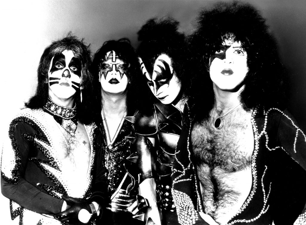 The members of Kiss in their makeup