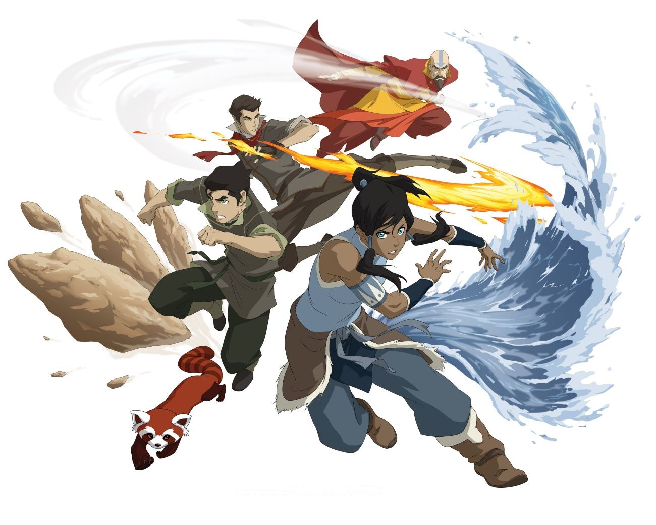 Bolin, Mako, Aang, and Korra of The Legend of Korra