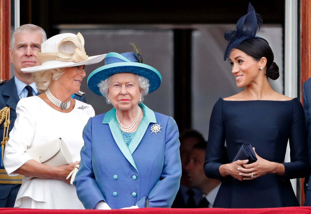 Camilla, Duchess of Cornwall, Queen Elizabeth II, and Meghan Markle watch a flypast to mark the centenary of the Royal Air Force from the balcony of Buckingham Palace