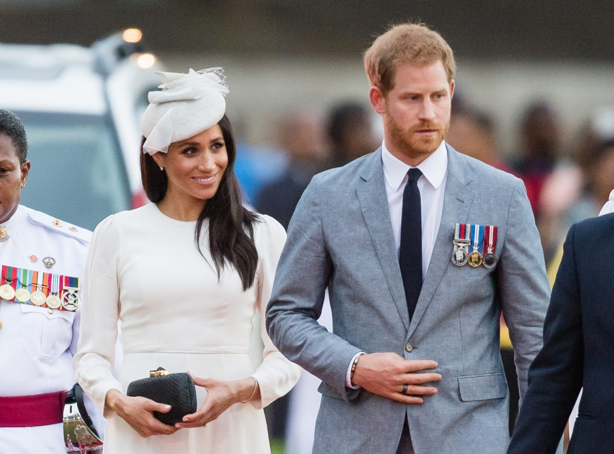 Prince Harry and Meghan Markle attend an official welcome ceremony in the city centre's Albert Park on October 23, 2018 in Suva, Fiji