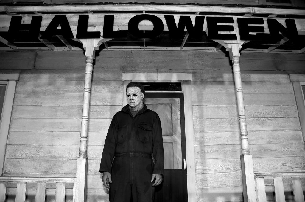 Michael Myers in front of his house