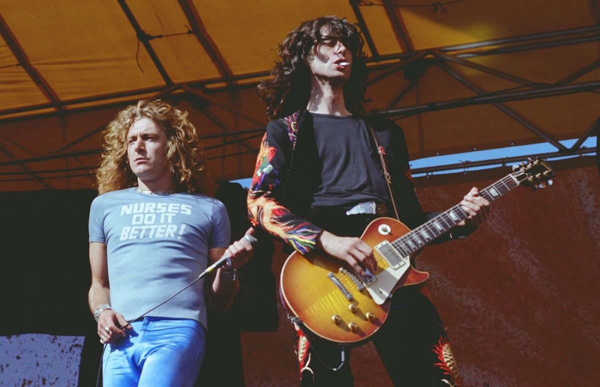Robert Plant performing with Jimmy Page