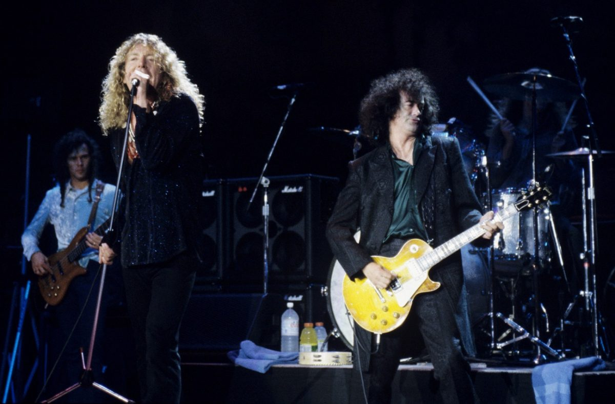 Robert Plant and Jimmy Page performing in the '90s