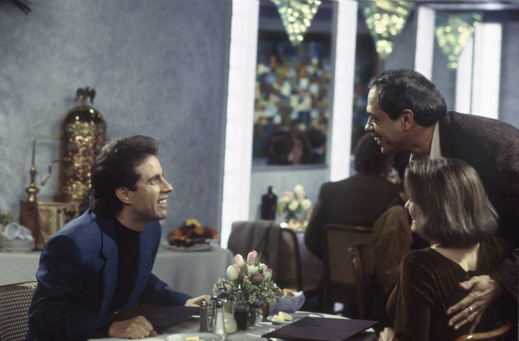 Jerry Seinfeld, Reni Santoni as Poppie, and Suzanne Snyder as Audrey in Seinfeld