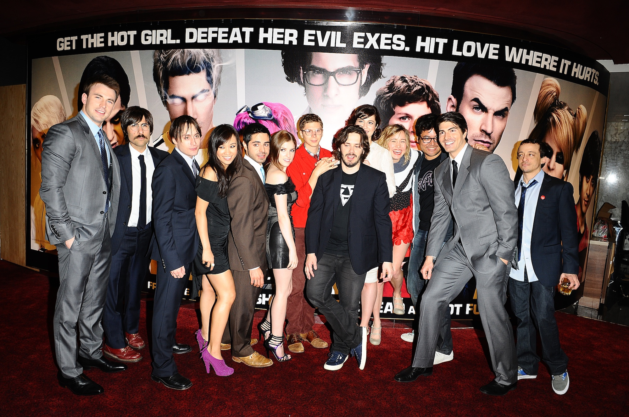 Cast and crew members of 'Scott Pilgrim vs The World' at the premiere for the film at the Odeon, Leicester Square, London.