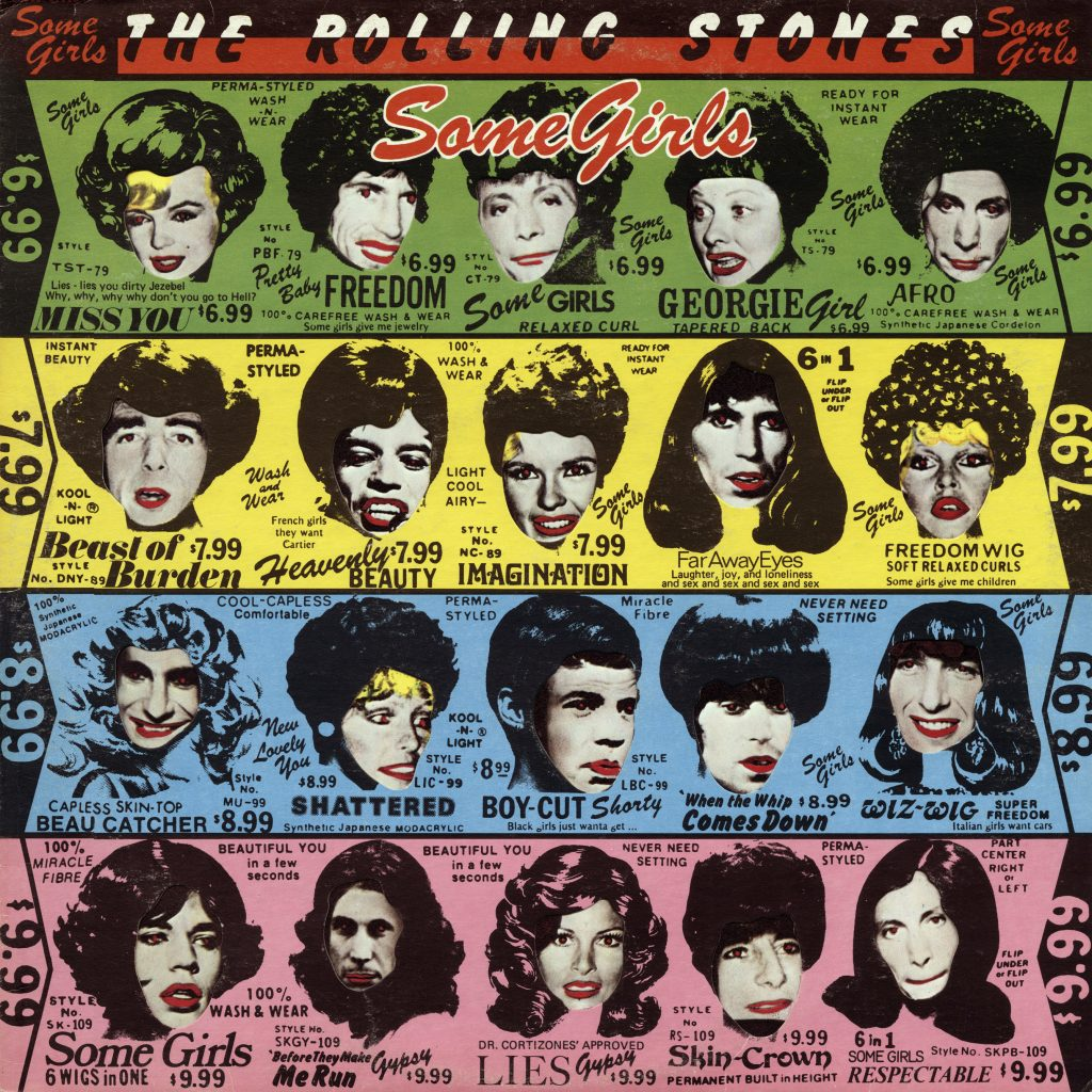 The Rolling Stones in drag on the cover of Some Girls