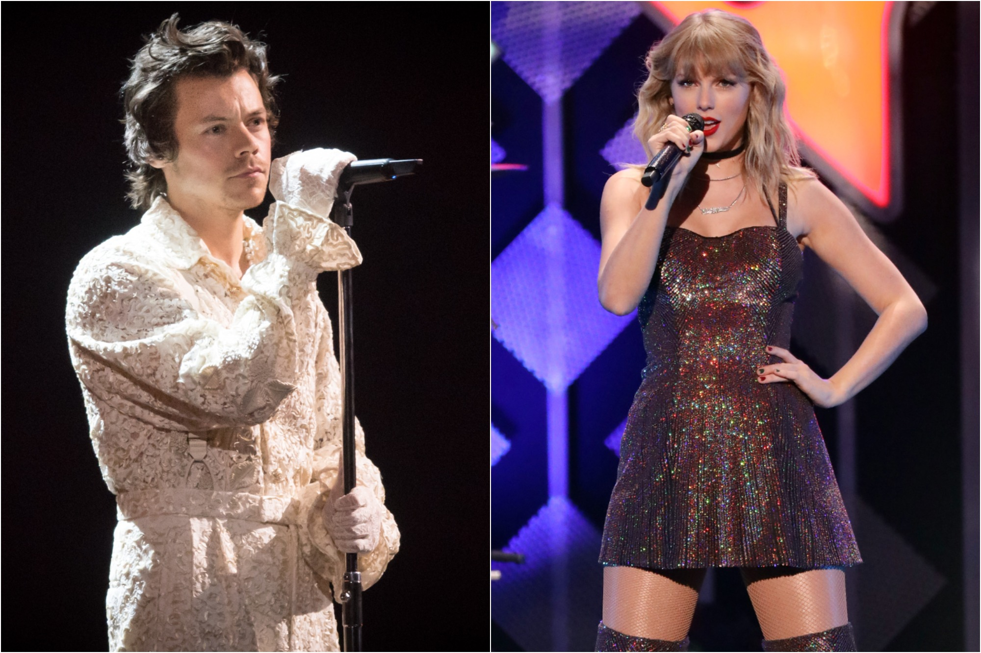 Harry Styles peforms during The BRIT Awards 2020 at The O2 Arena on Feb. 18, 2020/  Taylor Swift performs during the 2019 Z100 Jingle Ball at Madison Square Garden on Dec. 13, 2019.
