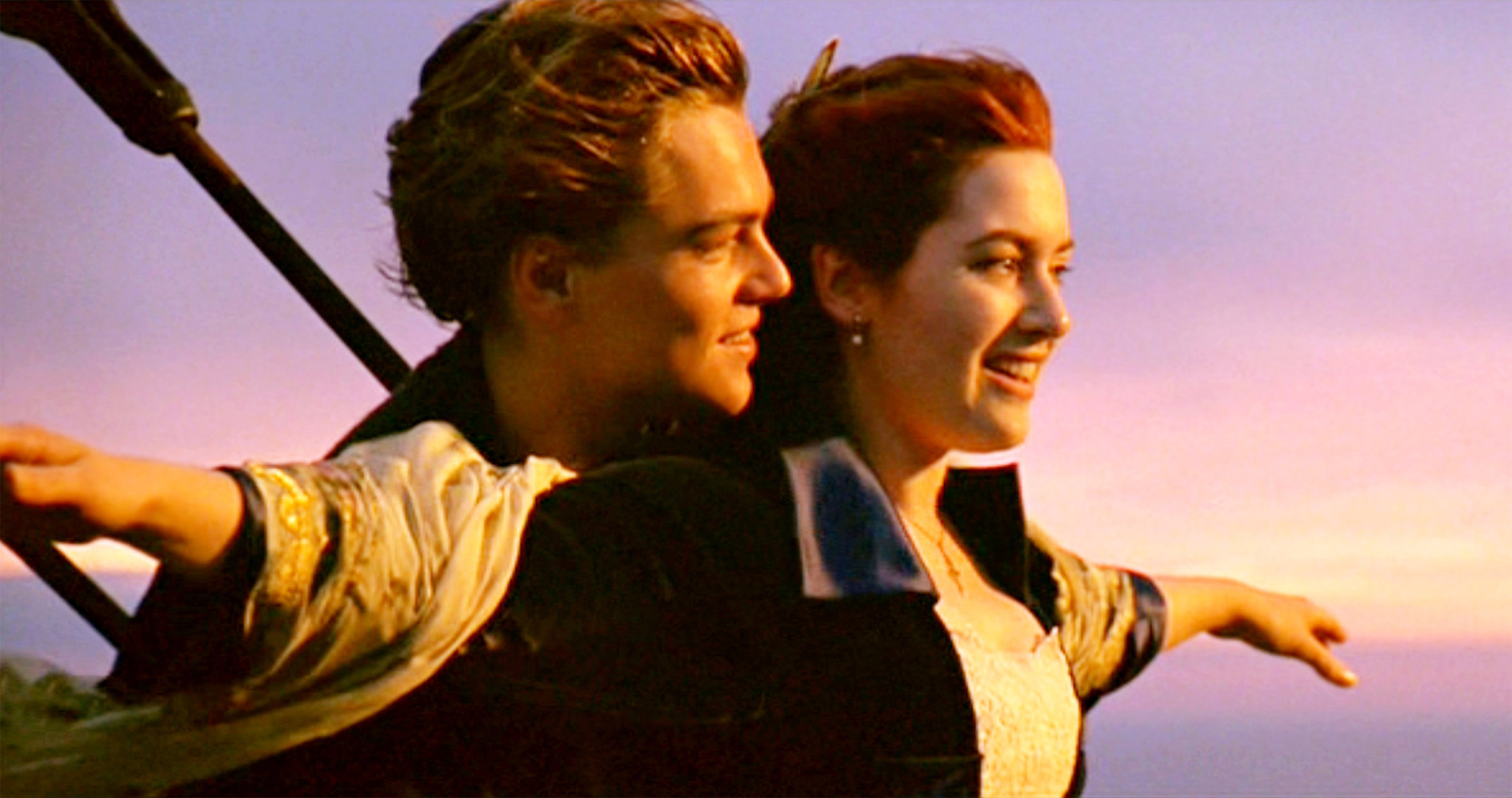 Jack Dawson (Leonardo DiCaprio) and Rose (Kate Winslet) in one of the most iconic scenes from the movie 'Titanic,' written and directed by James Cameron.