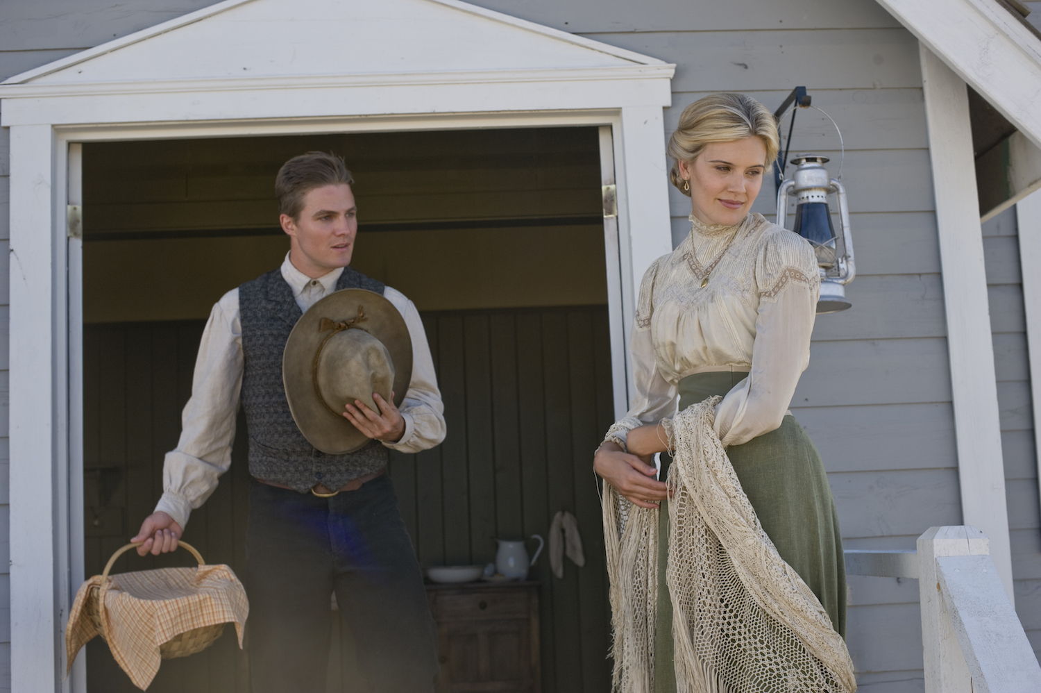 Stephen Amell and Maggie Grace in the When Calls the Heart movie