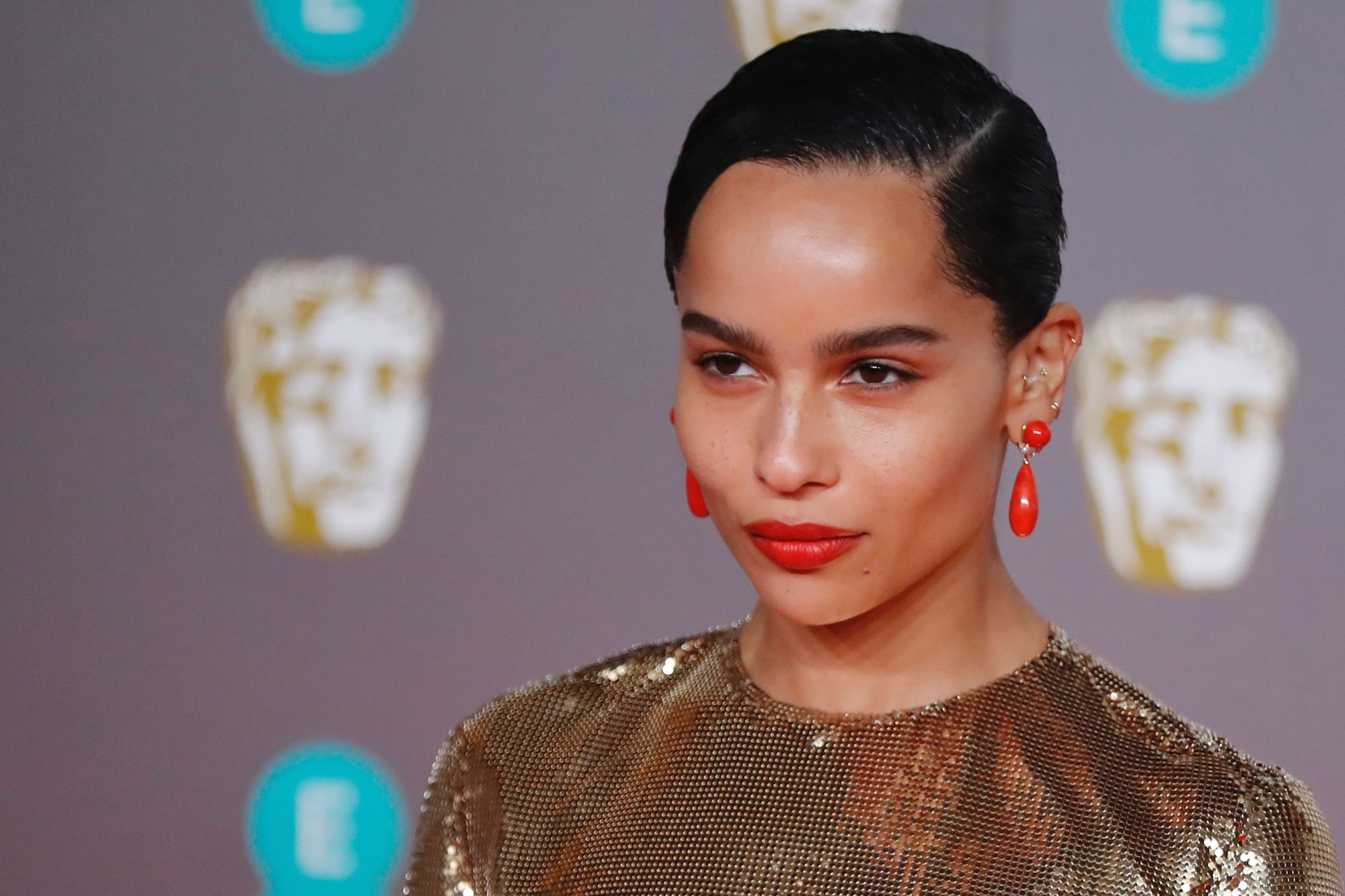Zoë Kravitz on the red carpet for the BAFTA British Academy Film Awards on Feb. 2, 2020.
