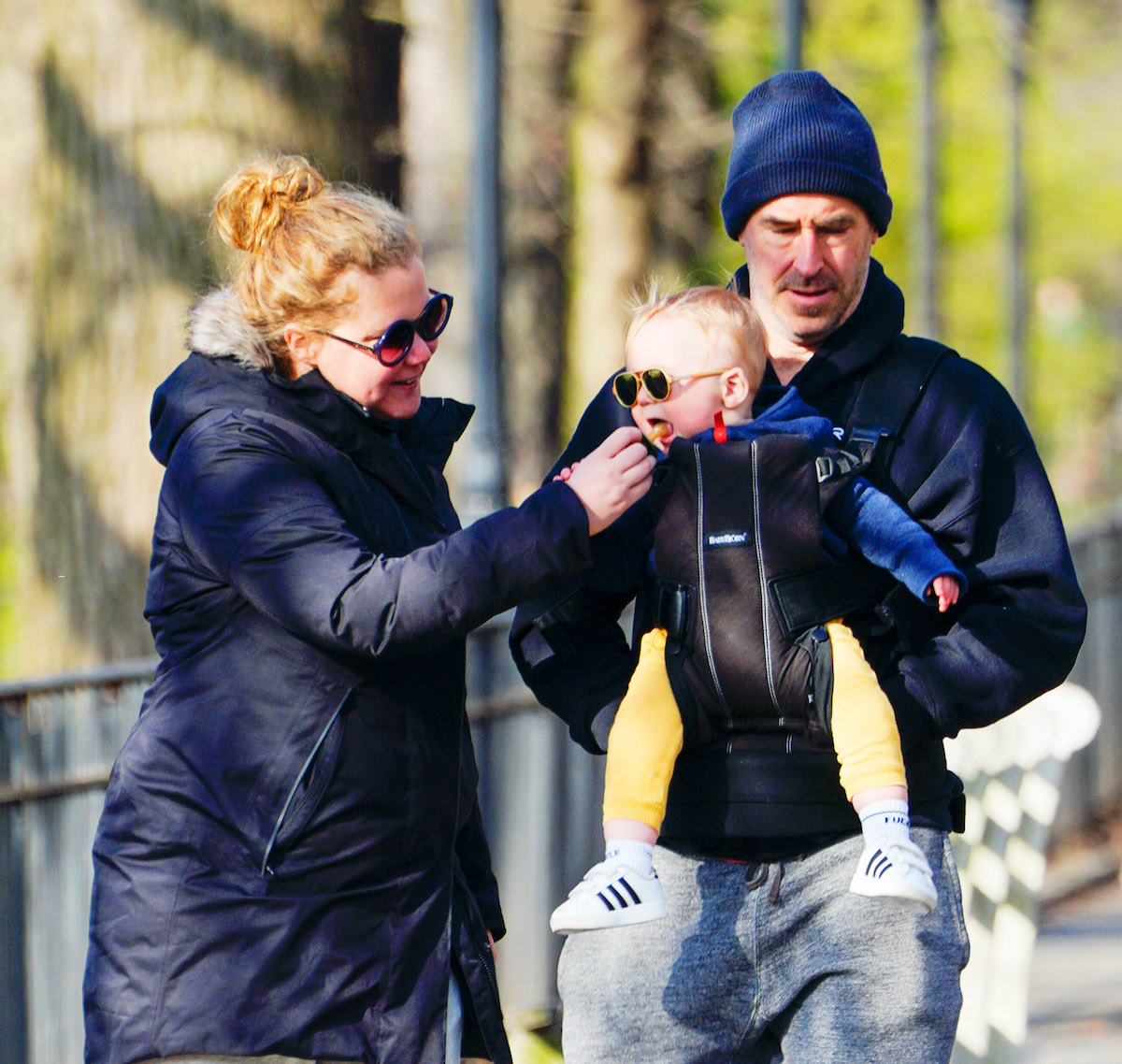 Amy Schumer and Chris Fischer take baby Gene Fischer out for some morning air