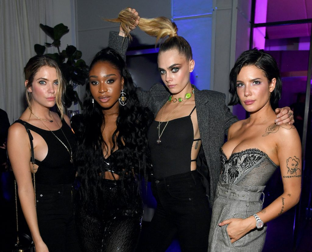 (L-R) Ashley Benson, Normani, Cara Delevingne, and Halsey attend the Savage X Fenty Show After Party