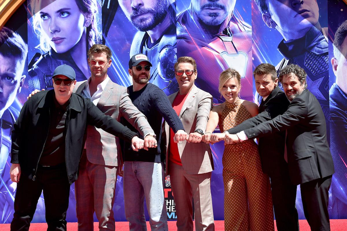 Kevin Feige, Chris Hemsworth, Chris Evans, Robert Downey Jr., Scarlett Johansson, Jeremy Renner, and Mark Ruffalo
