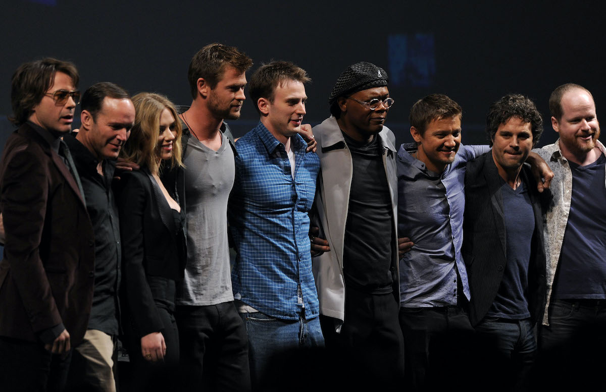 Writer-director Joss Whedon and the cast of 'The Avengers'