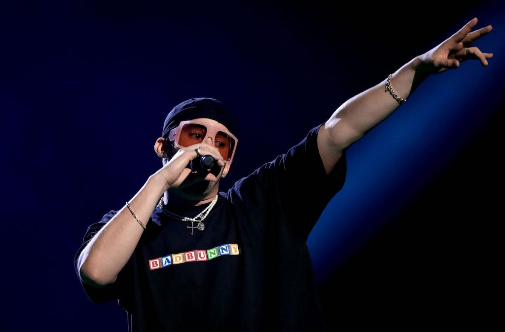 Bad Bunny performs onstage during the 2020 Spotify Awards