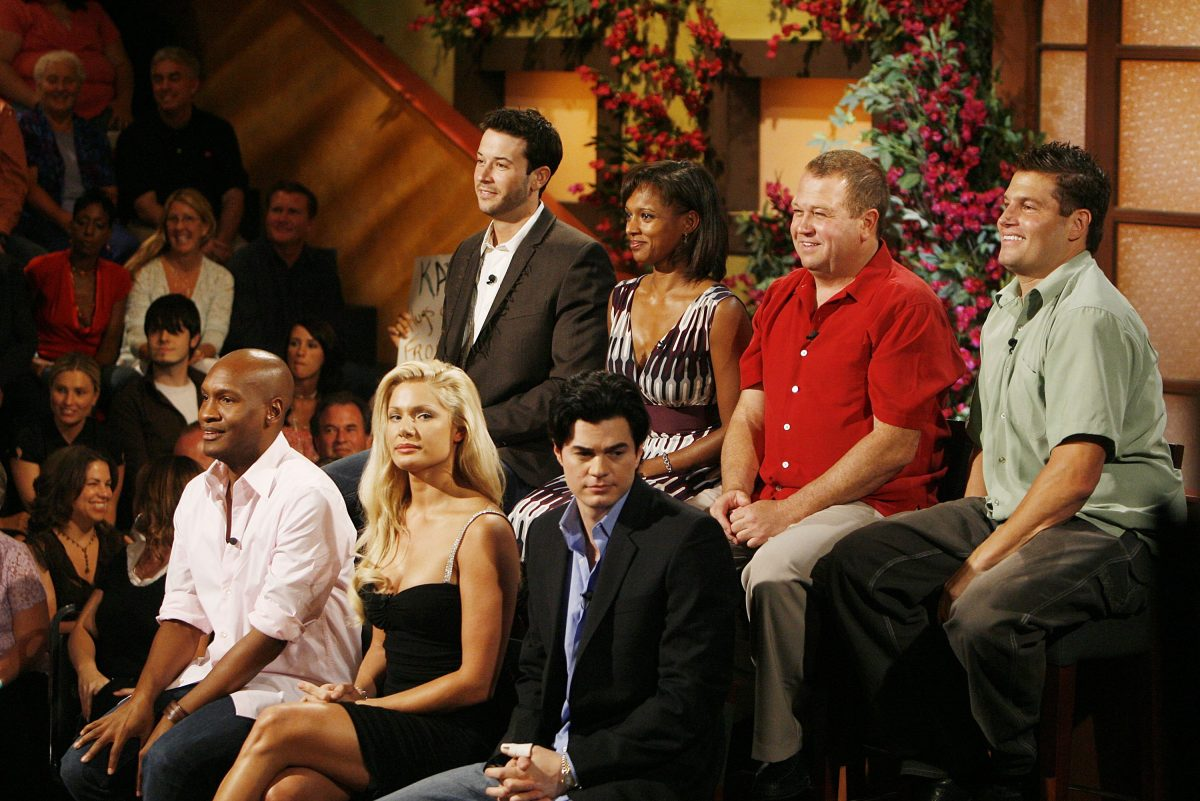 The Jury, (Front, L to R) Marcellas Reynolds, Janelle Pierzina, Will Kirby, (rear, L to R) James Rhine, Danielle Reyes, George Boswell and Howie Gordon appear onstage at Big Brother 7: All-Stars