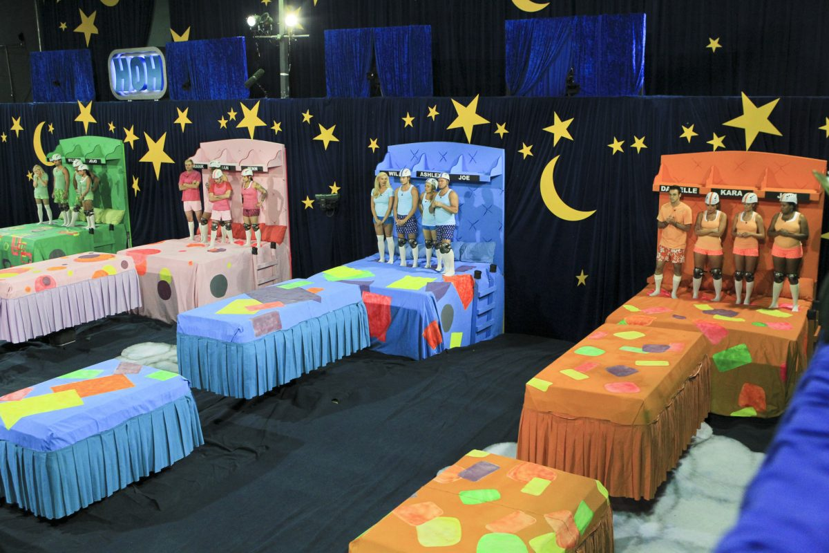 The 4 coaches and their teams preparing to start the Big Brother Slumber Party Head of Household competition