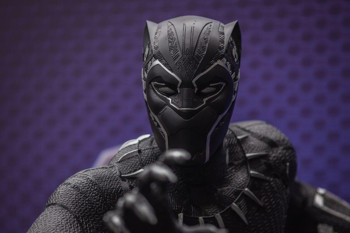 A fan dressed as Black Panther