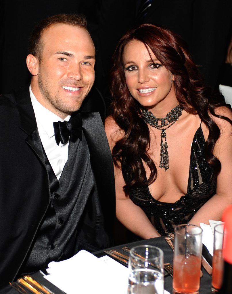 Britney Spears (R) and David Lucado attend the 22nd Annual Elton John AIDS Foundation Academy Awards viewing party