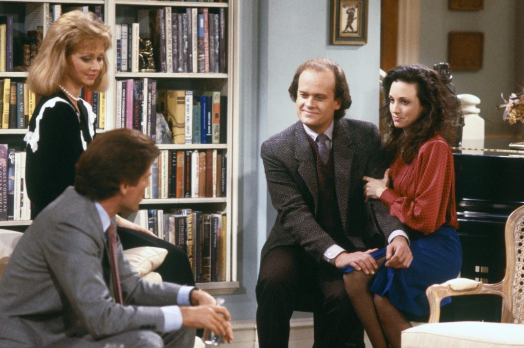 (L-R): Shelley Long, Ted Danson, Kelsey Grammer,  and Bebe Neuwirth of 'Cheers'
