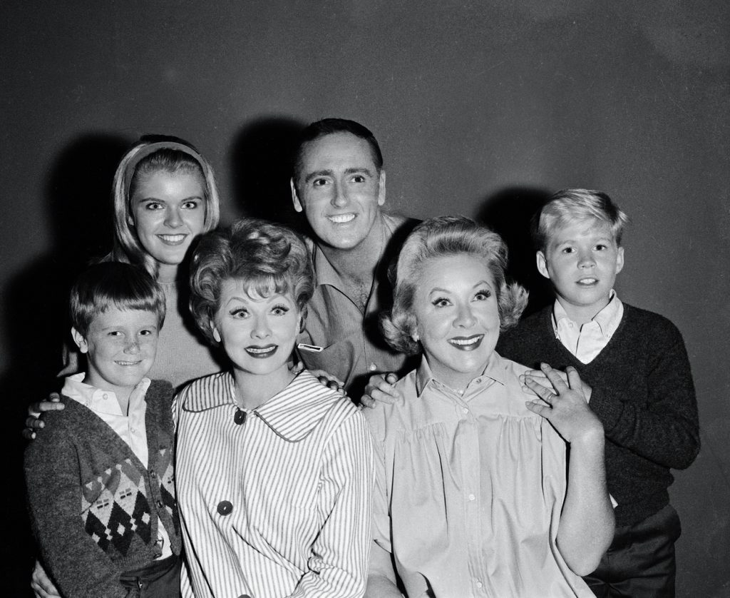 Cast of 'The Lucy Show': Jimmy Gerrett, Candy Moore, Lucille Ball, Dick Martin, Vivian Vance, and Ralph Hart
