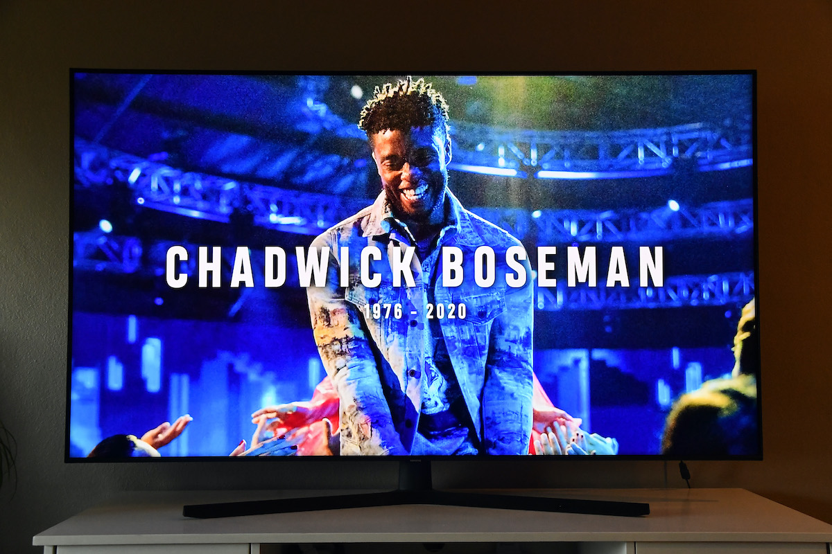 In Memoriam for Chadwick Boseman, viewed on a television screen, is seen during the 2020 MTV Video Music Awards broadcast on August 30, 2020