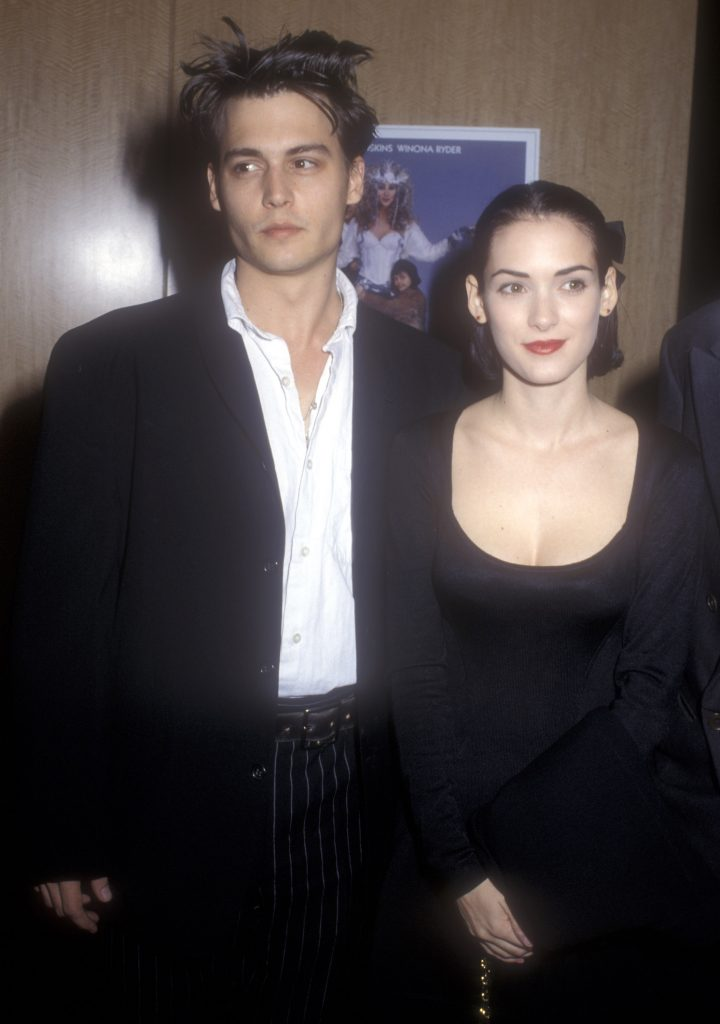 Johnny Depp and Winona Ryder during 'Mermaids' Premiere