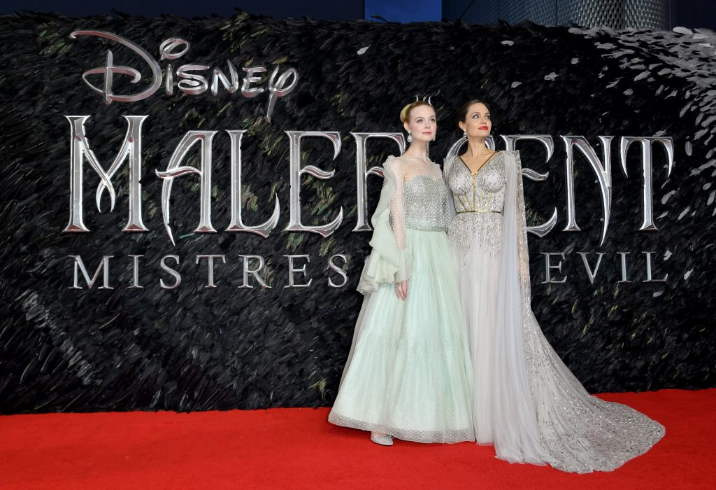 Elle Fanning and Angelina Jolie attend the European Premiere of Disney's 'Maleficent: Mistress of Evil'