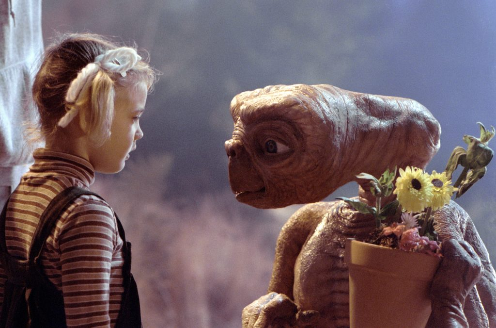 Drew Barrymore and E.T. from 'E.T. the Extra-Terrestrial'