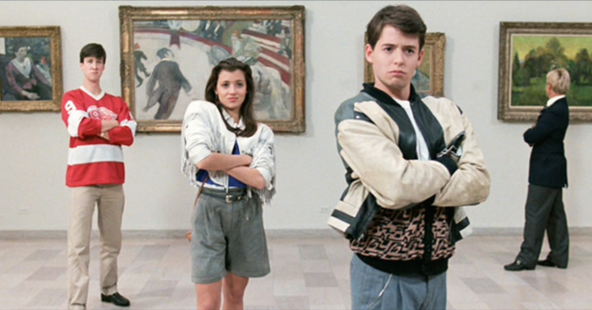 "The movie ""Ferris Bueller's Day Off"", written and directed by John Hughes. Seen here from left, Alan Ruck as Cameron Frye, Mia Sara as Sloane Peterson and Matthew Broderick as Ferris Bueller"
