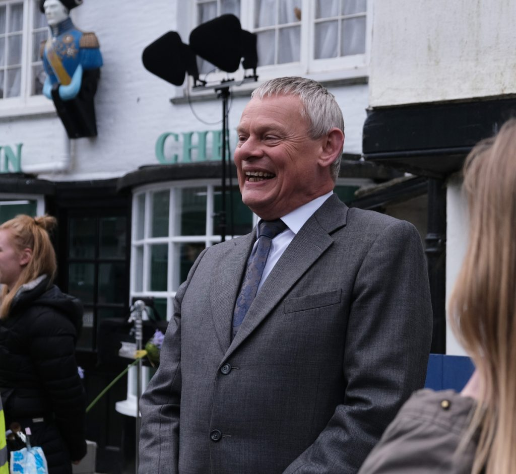 Martin Clunes on the set of 'Doc Martin'