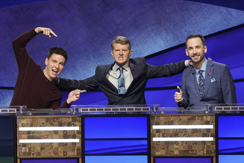 James Holzhauer, Ken Jennings, and Brad Rutter in 'Jeopardy!'s 2020 Greatest of All Time tournament