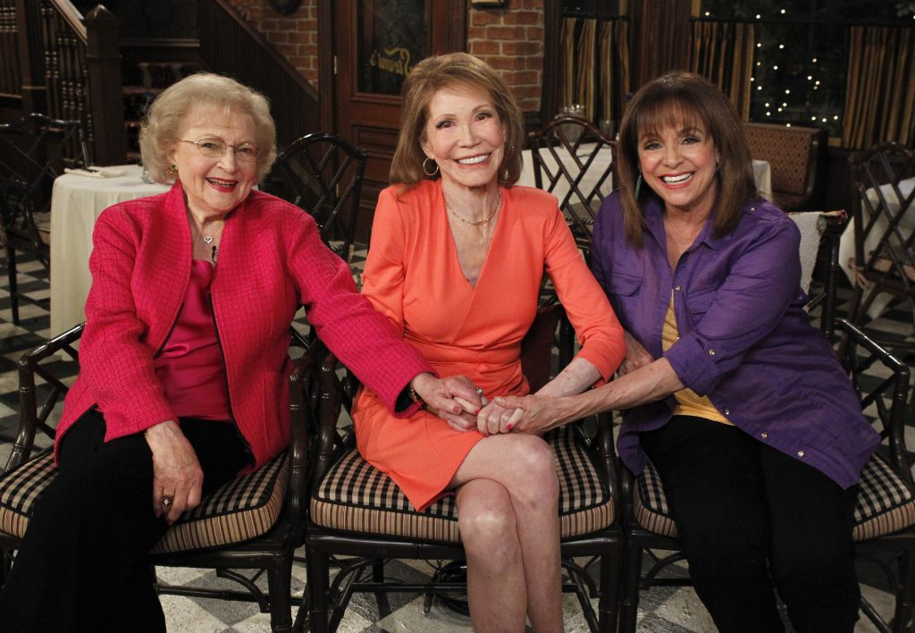 Betty White, left, with her 'The Mary Tyler Moore' costars, Mary Tyler Moore and Valerie Harper