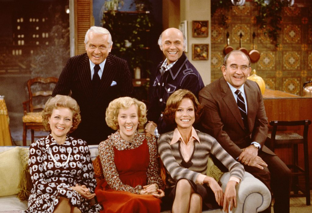 Betty White, bottom left, and the cast of 'The Mary Tyler Moore Show' in 1975
