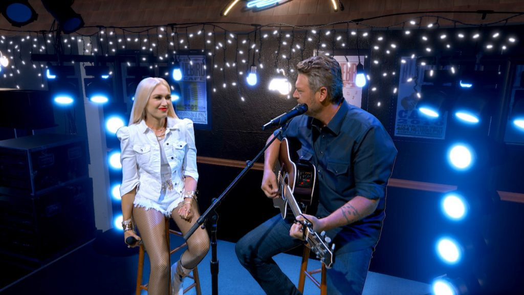 Gwen Stefani and Blake Shelton perform during the 55th Academy of Country Music Awards