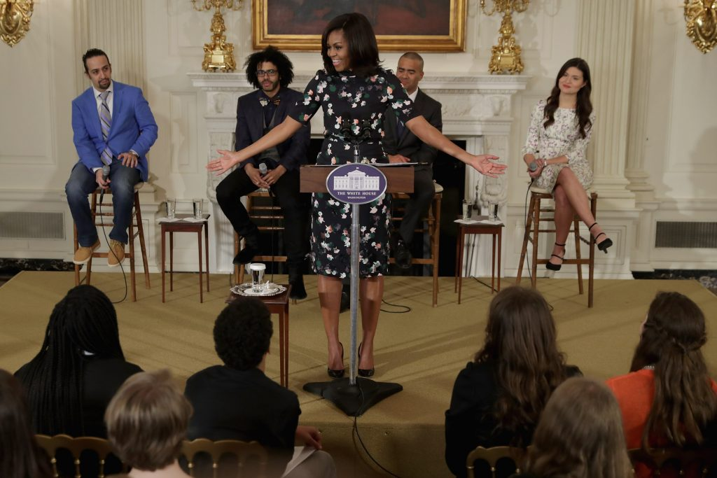 U.S. first lady Michelle Obama welcomes the Broadway cast of 'Hamilton'