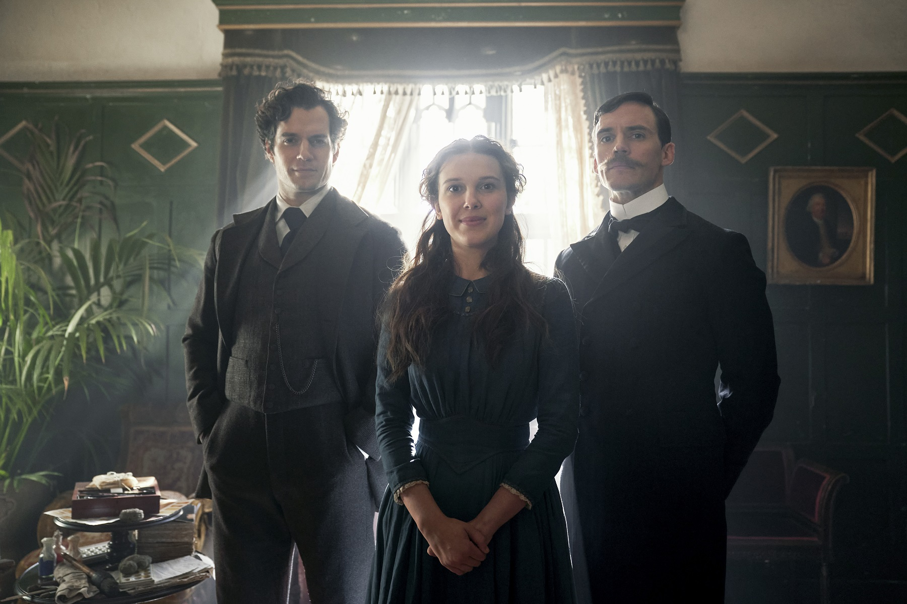 Henry Cavill, Millie Bobby Brown, and Sam Claflin in 'Enola Holmes'