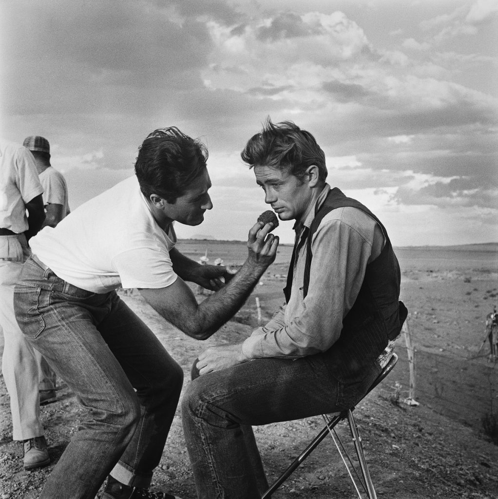 """James Dean on the set of the movie """"Giant"""" in July 1955 in Marfa, Texas"""