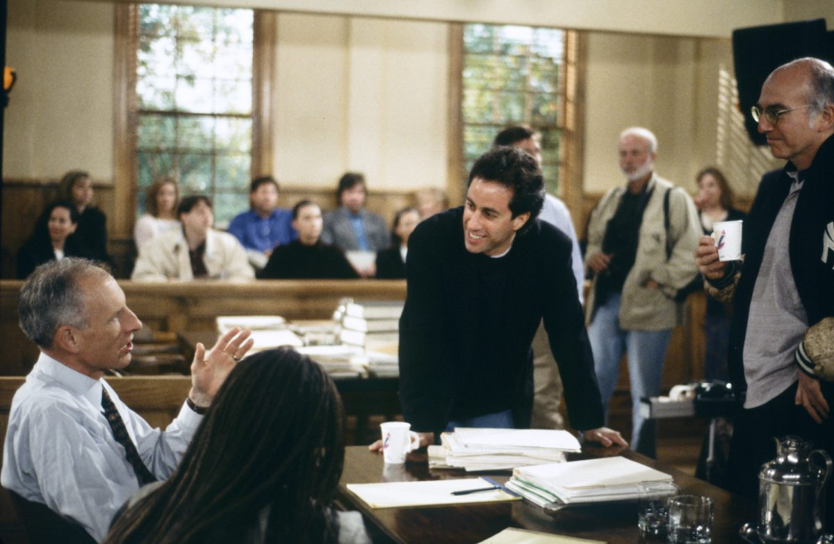 James Rebhorn, Jerry Seinfeld, and Larry David on the set of 'Seinfeld' series finale