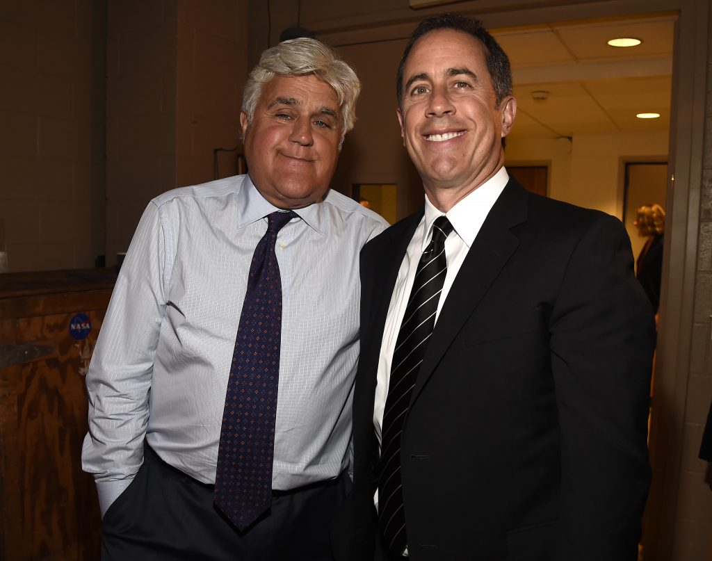Jay Leno (L) and Jerry Seinfeld attend the National Night Of Laughter And Song even