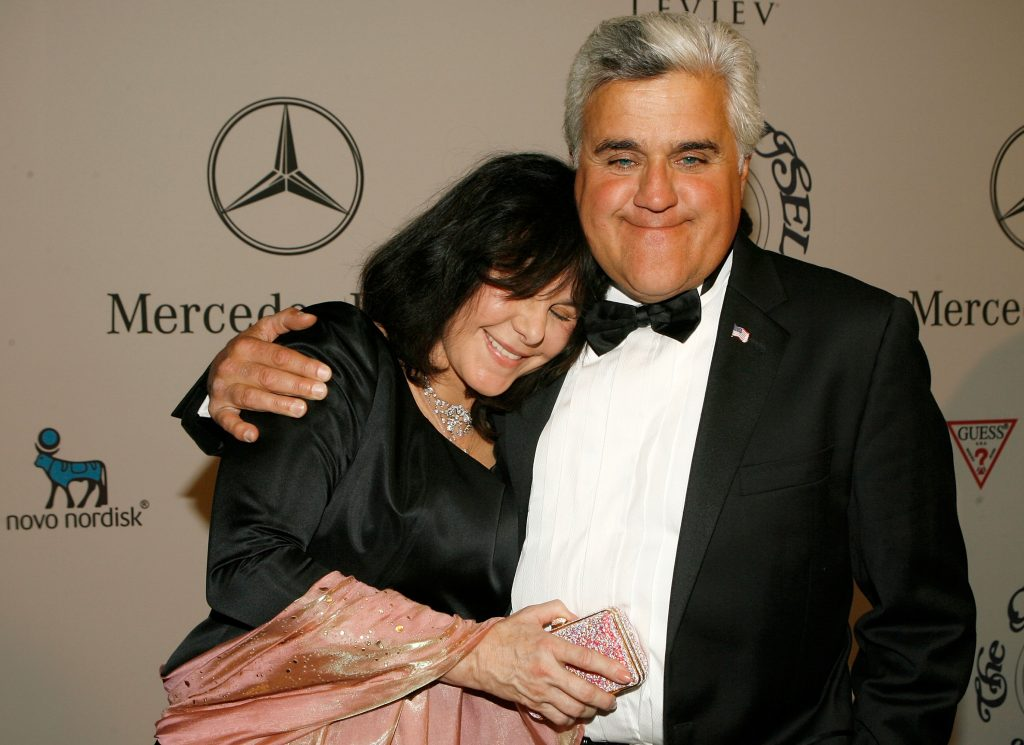 Jay Leno and Mavis Nicholson-Leno attend the 17th Annual Mercedes-Benz Carousel of Hope cocktail party at the Beverly Hilton Hotel