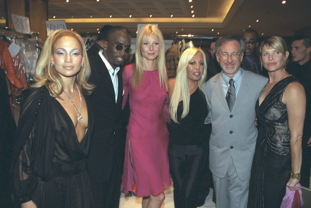 Jennifer Lopez, Sean 'Diddy' Combs, Gwyneth Paltrow, Donatella Versace and Steven Spielberg with his wife Kate Capshaw | Stephane Cardinale/Sygma via Getty Images