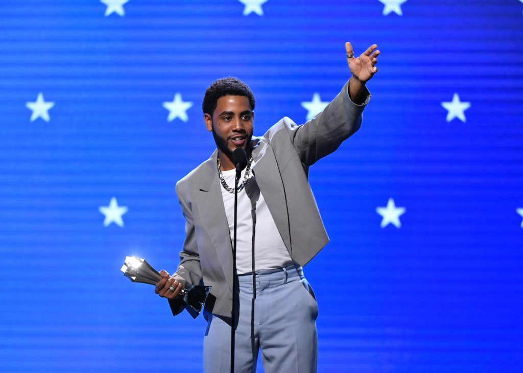 Jharrel Jerome accepts the Best Actor in a Movie/Limited Series award for 'When They See Us' at the Critics' Choice Awards