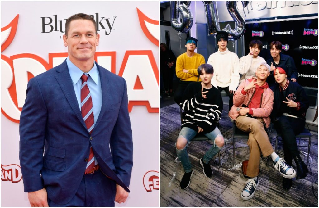 Photos of John Cena and BTS side by side