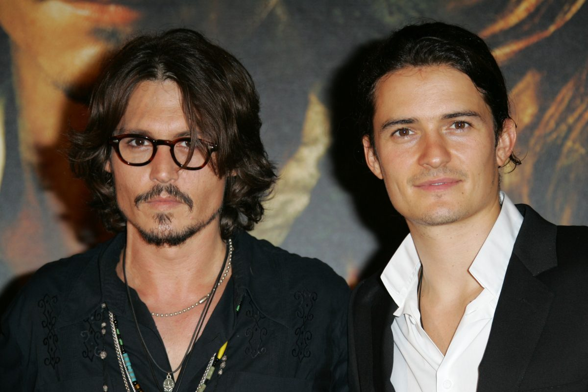 Johnny Depp and Orlando Bloom at the Gaumont Marignan Theater in Paris, France